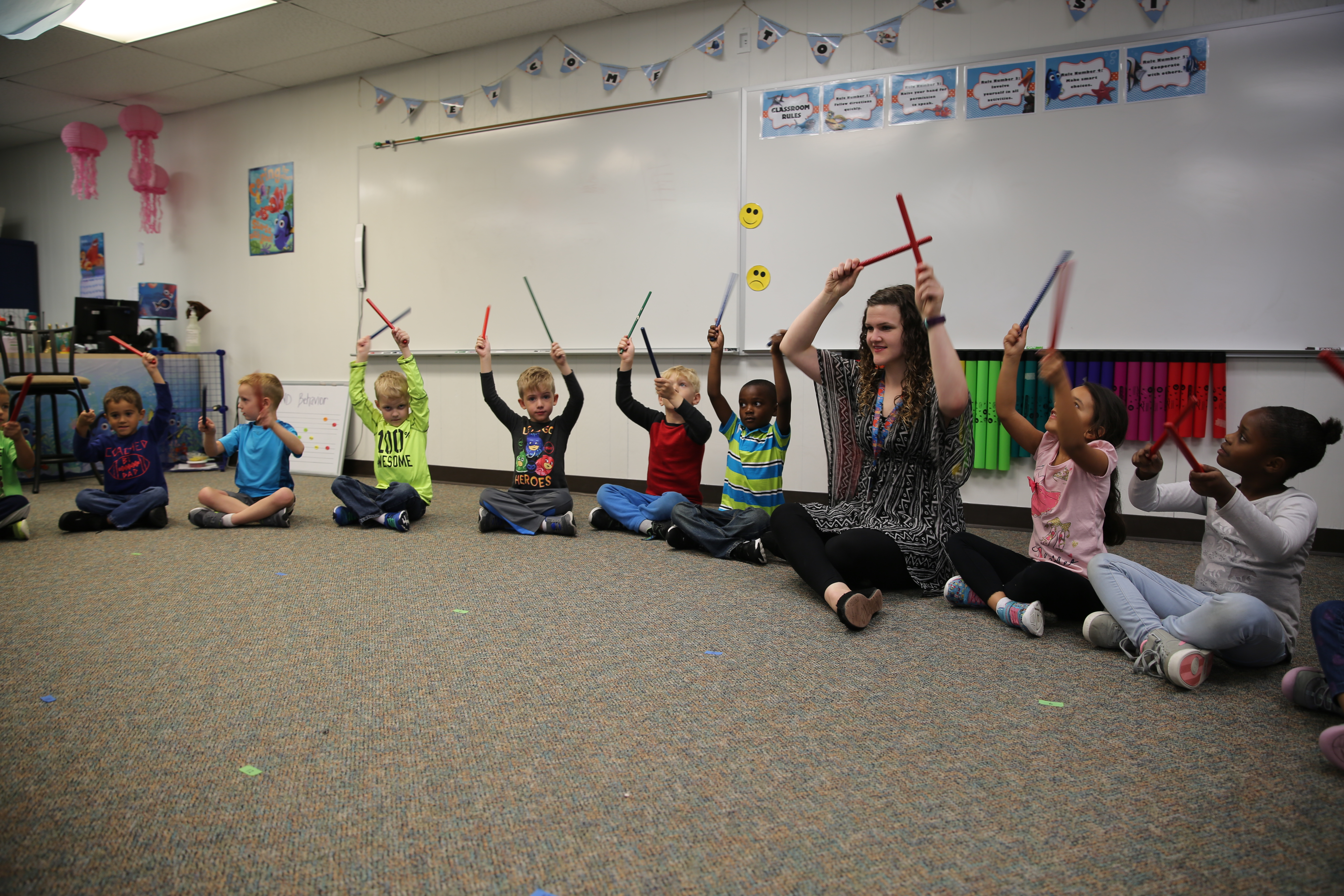 Meadow's Edge students in music class