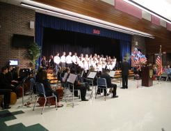 Grissom Orchestra students perform at Nov. 2018 Veterans Day program