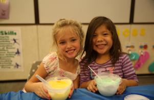 Meadow's Edge students making slime for Fall party